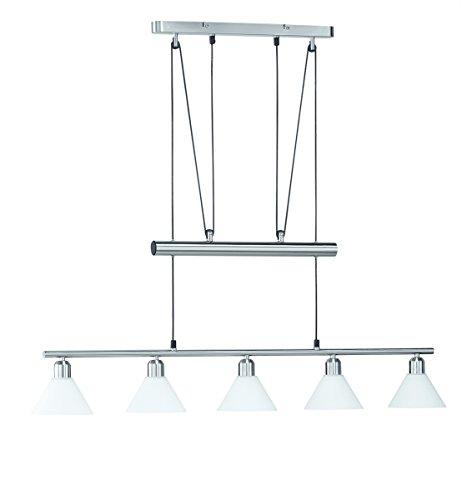 LED Pendelleuchte 5x4W hell höhenverstellbar 80 - 180 cm London 2700k 96cm nickel matt / Glas weiß 20 Watt