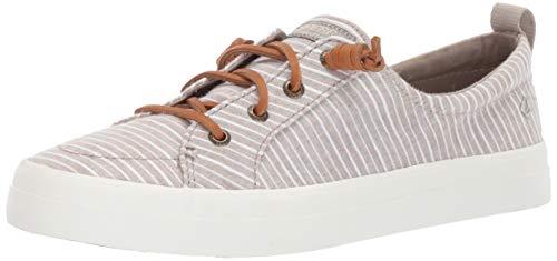 (SPERRY Women's Crest Vibe Chambray Stripe Sneaker, Linen/White, 7.5 )