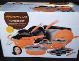 10' Porcelain Enamel - Rachel Ray 15 Piece Cookware Set - Hard Enamel