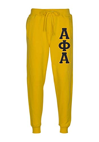 Fashion Greek Alpha Phi Alpha Embroidered Twill Letter Joggers Gold Black Large (Greek Embroidered Sweatshirts)