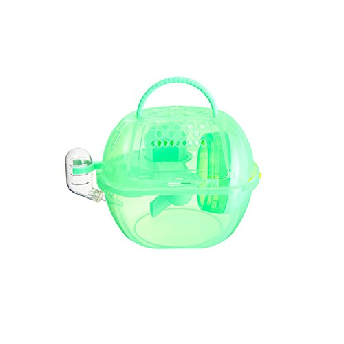 OMEM Hamster Cage 2 Floors, Portable and Transparent , Hamster Supplies Toys - Green Cage Hamster