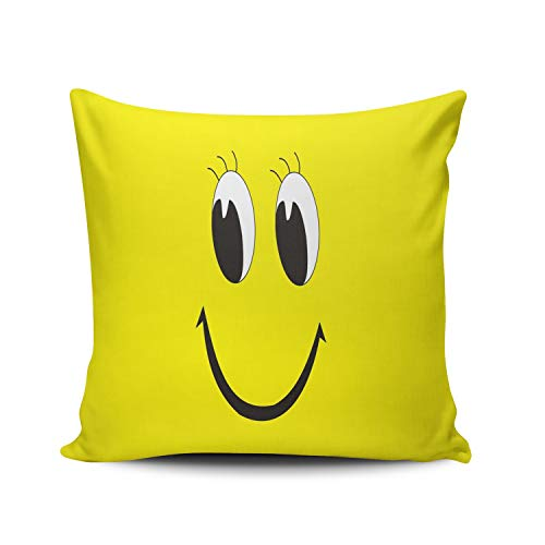 XIAFA Smiley Face Cute Yellow Home Decoration Pillowcase 26X26 inch European Stylish Design Throw Pillow Case Cushion Cover Double Sided Printed (Set of 1)