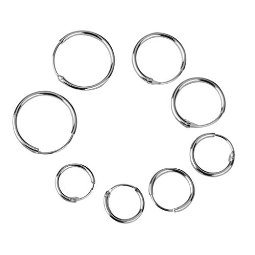 4 Pair 8 10 12 14mm 925 Sterling Silver Fashion Simple Round Shape Earrings