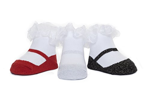 Baby Emporio - 3 Pairs Baby Girl Socks that look like Shoes -Gift Pouch (0-9 Months, Sparkle Mary Jane GALA)