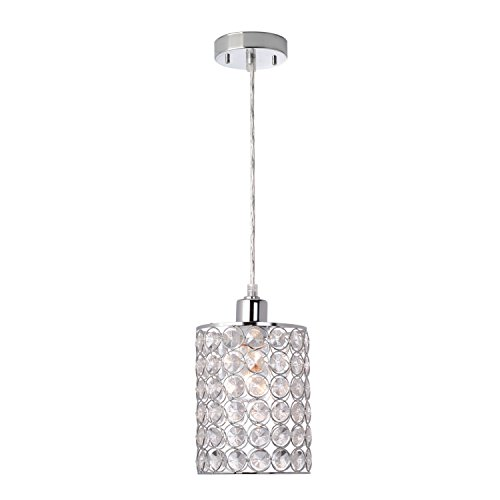 - Globe Electric Trenton 1-Light Mini Pendant, Caged Crystal Shade, Polished Chrome Finish 65012