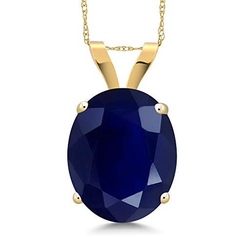 (Gem Stone King 14K Yellow Gold Blue Sapphire Pendant Necklace 5.00 Ct Oval Gemstone Birthstone with 18 Inch)