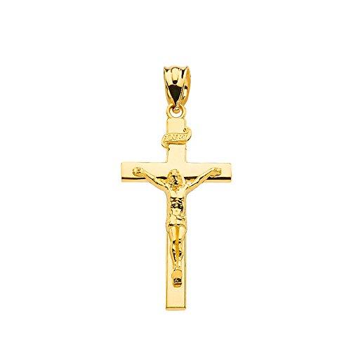 Solid 10k Yellow Gold Cross INRI Crucifix Charm Pendant (1.18