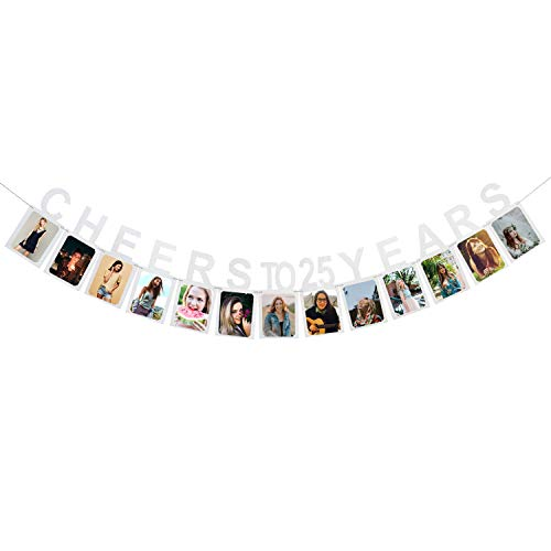 Cheer To 25 Years Photo Banner - Happy 25 Years Old Birthday 25th Anniversary Party Decoration Sign Silver ()