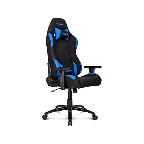AKRacing Core Series EX-Wide Gaming Chair with Wide Seat, High and Wide Backrest, Recliner, Swivel, Tilt, Rocker and Seat Height Adjustment Mechanisms with 5/10 warranty – Black/Blue