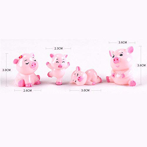 Brosco 4pcs Pink Pigs Mini Miniature Figurine Garden Ornament Dollhouse Micro Landscape ()