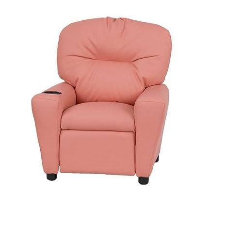 Prime Amazon Com Contemporary Pink Vinyl Kids Recliner With Cup Machost Co Dining Chair Design Ideas Machostcouk