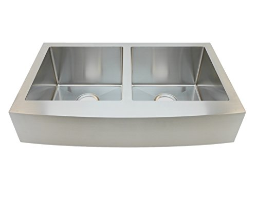 Find Cheap Auric Sinks 33 Retro-fit Short 6 Apron Farmhouse Curved Front Double 50/50 Bowl Sink, P...