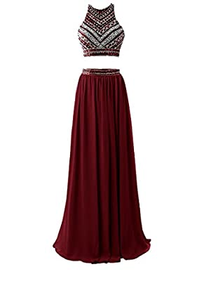 HEIMO Women's 2018 Two Pieces Beaded Evening Party Gowns Sequined Formal Prom Dresses Long H178