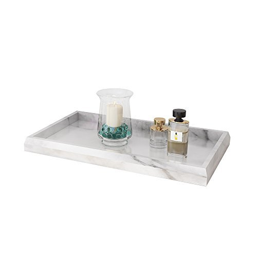 Roomfitters Marble Print Vanity Tray Cosmetic Jewerly Storage Handmade Rectangle Ottoman Catchall Tray,White,Large