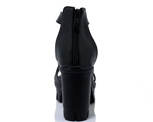 Heels Open Women's PU Black Toe High Heeled Sandals Zipper Solid WeenFashion 0qPwxP