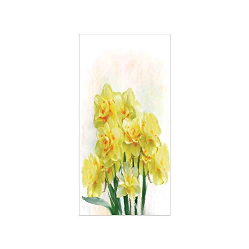 Jonquil Sheer - 3D Decorative Film Privacy Window Film No Glue,Daffodil,Digital Watercolors Paint of Daffodils Bouquet Called Jonquils in England Lily,Yellow Green,for Home&Office