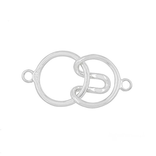 (Sterling Silver 1-Strand Round Hook and Eye Clasp for DIY Necklace Bracelet)