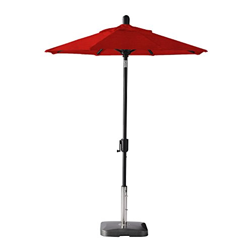 Secret Garden Home Goods Laguna Cove 6' Round Auto Tilt Market Umbrella (Black Sapphire, Sunbrella- Jockey Red)