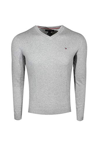 (Tommy Hilfiger Men's Pima Cotton Cashmere Sweater (Large, Light Gray))