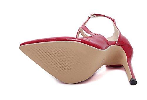YCMDM DONNE Sandali con tacco primavera-estate 2017 l'Europa e gli Stati Uniti popolare classico modelle scarpe a punta , red , 35