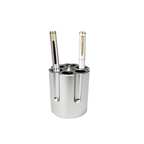 Gun Cylinder Pen Holder, Revolver Pen Holder with 6 Bullet Pens Pencil Holder Gun Cylinder Design Heavy Duty Non-Slip Aluminum Office Creative Decoration,Silver