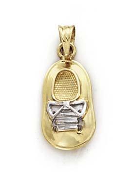 14k Two-Tone Gold Baby Boy Shoe Pendant