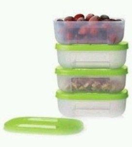 [Tupperware Freezer Mates Mini 1s Sheer Containers with Spearmint Seals] (Tupperware Freezer Mates)