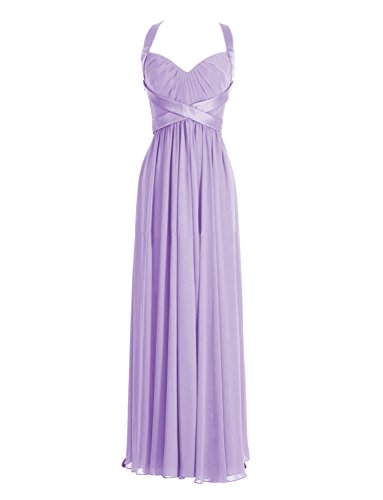 ModeC Halter Long Column Sweetheart Maternity Evening Bridesmaid Dresses Lavender US12 Chiffon Sweetheart Neckline Column