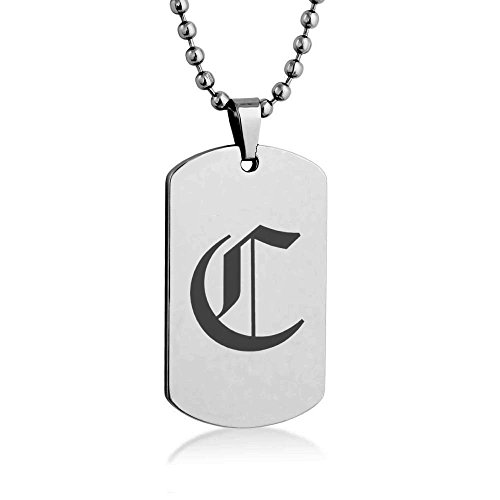 [Old English Letter C Engrave Dog tag Necklace Pendant 24 inch Stainless Steel Chain Giftpouch and] (Letter W Halloween Costumes)