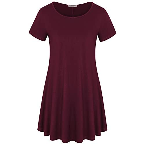Top Fanfly Women's Short Sleeve Loose Fit T Shirt Blouse Flare Tunic Tops