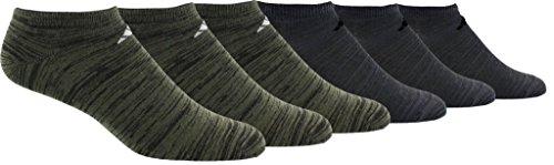 adidas Mens Superlite No Show Socks (6-Pack), base green/black space dye/light Onix black/night, 6-12