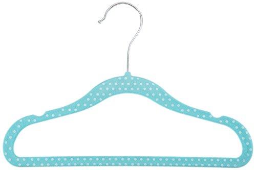 AmazonBasics Kinder-Kleiderbügel mit Samtbezug, gepunktet, 30er Pack, Blau