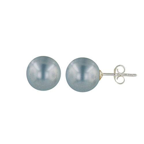 (925 Solid Sterling Silver Faux Pearl Stud Earrings - 7,8,10,12mm Round Ball Hypoallergenic Jewelry (Light Grey, 10))