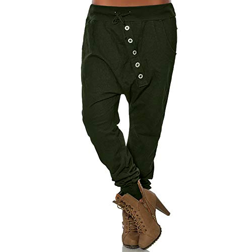 (POQOQ Pants Trousers Women Fashion Hipsters Harem Pants Bloomers Baggy XS Army)