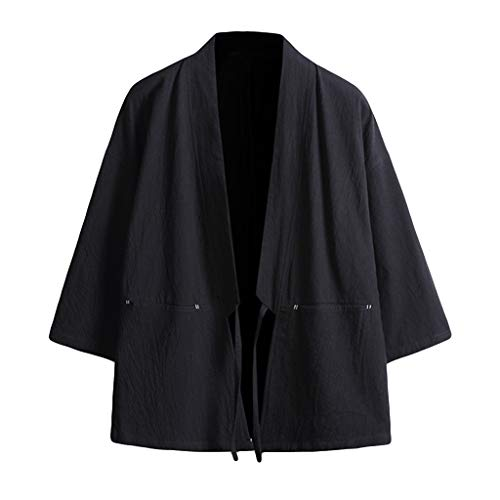 - Fashion Men's Cotton Blends Linen Cloak Open Front Cardigan Kimono Jackets