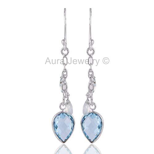 (925 Sterling Silver Earrings for Womens & Girls, Drop & Dangle Earrings, Blue Topaz, Blue Onyx Earrings Sterling Silver for Womens & Girls, Gift for Womens, Mom, Bridesmaid Gift, Handmade Jewelry)