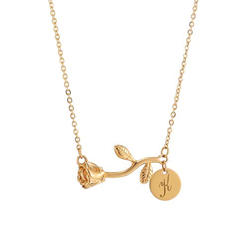 - Personalized Custom Stainless Steel Necklace for Women Any Name Bar Rose Flower Pendant Necklaces Jewelry Chain (Horizontal-Gold-K)