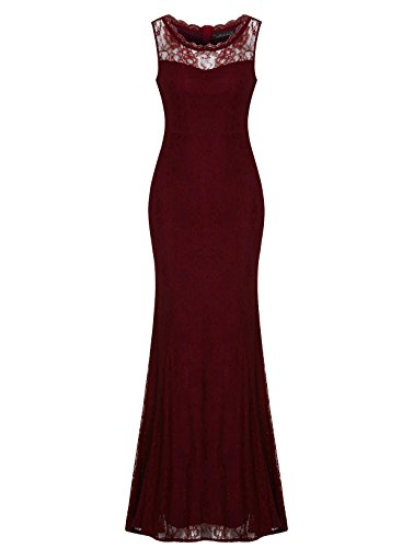 Sylviey Womens Retro Floral Lace Wedding Bridemaid Gown Sleeveless Maxi dress Burgundy Medium