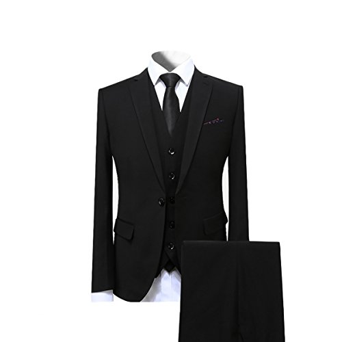 Cloudstyle Mens Suit Solid Color Formal Business One Button 3-Piece Suit Wedding Slim Fit