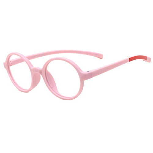 modesoda Kids Round Eyeglasses,Rubber Flexible Safety Glasses Clear Lens for Boy Girls Pink