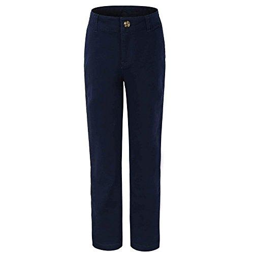 Bienzoe Big Girl's School Uniforms Cotton Stretchy Slim Flat Front Adjust Waist (Navy School Uniform Pants)