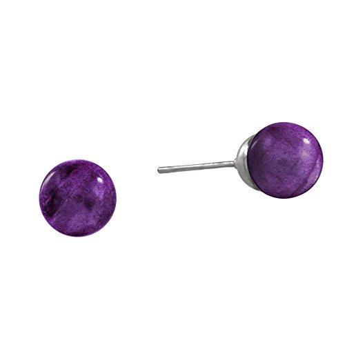 Falari Natural Gemstone Stud Earring 8mm Amethyst