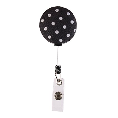 Fashion Floral Spots Design Retractable 24 inch Nylon Cord, Medical Nurse Badge ID, Badge Holder, ID Holder, Office Employee Name Badge Reel - Floral Spot