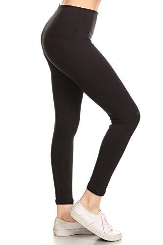YL5MRBK-S Premium Hidden Inner Pocket Yoga Leggings (Black, Small)