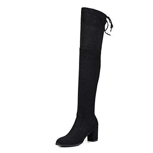 VB Boots Shoes Solid Color Big size Round Head Rough heel Strap Warm Black UkTwm4HZmT