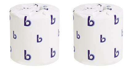 Boardwalk BWK6144 Two-Ply Toilet Tissue, White, 4'' x 3'' Sheet, 400 Sheets per Roll (Case of 96 Rolls) (2-(Pack))