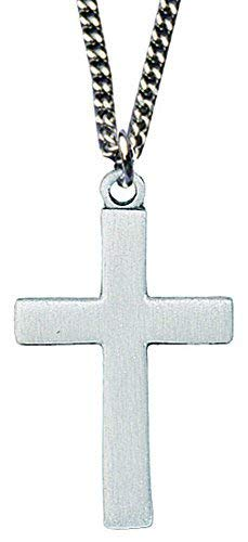 Pewter Cross Necklace Satin Finish on a 24