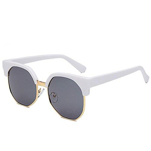 Aoligei Verres à lunettes de soleil Chao personnes irrégulières ronde demi cadre lunettes de soleil femme everbright biais boîte lunettes fTdJ4E