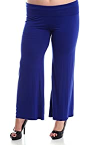 Stylzoo Women's Plus Size Stretchy Comfy Palazzo Solid Color Pants