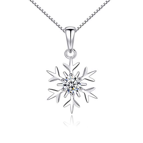(VANA JEWELRY Snowflake 925 Sterling Silver Necklaces for Women Cubic Zirconia Pendant Necklace Girls Fashion Jewelry Party Gifts Christmas Thanksgiving Birthday Anniversary Presents)
